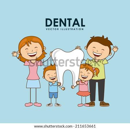 dental design over blue background vector illustration - stock vector