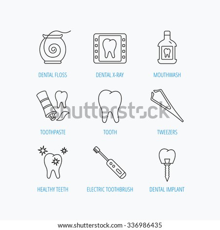 Dental floss, tooth and implant icons. Mouthwash, x-ray and toothpaste linear signs. Electric toothbrush. Linear set icons on white background. - stock vector
