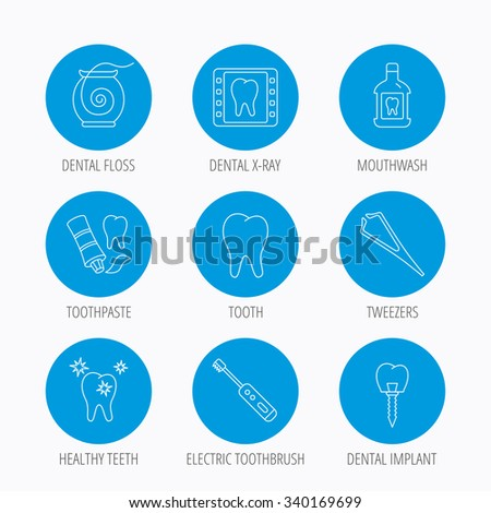 Dental floss, tooth and implant icons. Mouthwash, x-ray and toothpaste linear signs. Electric toothbrush. Blue circle buttons set. Linear icons. - stock vector
