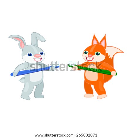 Dental hygiene care education kids Baby rabbit and baby squirrel Baby animals cartoon characters vector with toothbrushes  Happy bunny rabbit and squirrel with tooth brushes cartoon animals vector - stock vector