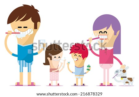 Dental Hygiene in the family - stock vector