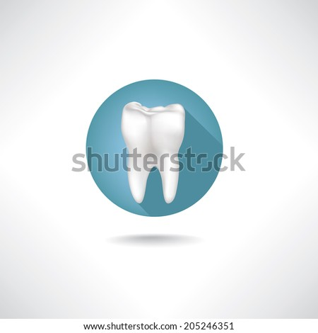 Dental icon. Vector Tooth icon web button isolated on white background  - stock vector
