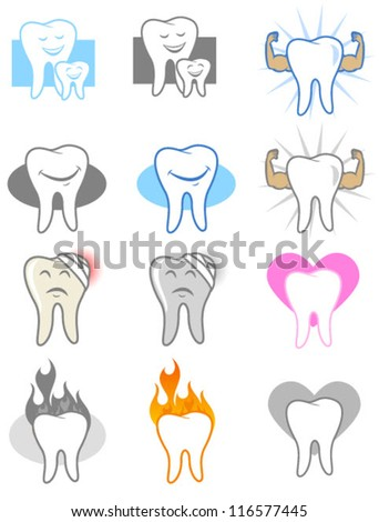 Dental Icons and Symbols - stock vector