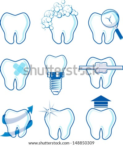 dental icons designs isolated on white background - stock vector