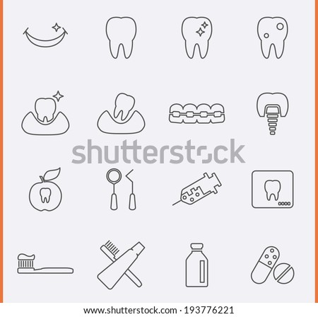 Dental Icons in thin line style - stock vector