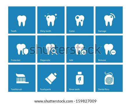 Dental icons on blue background. Vector illustration. - stock vector