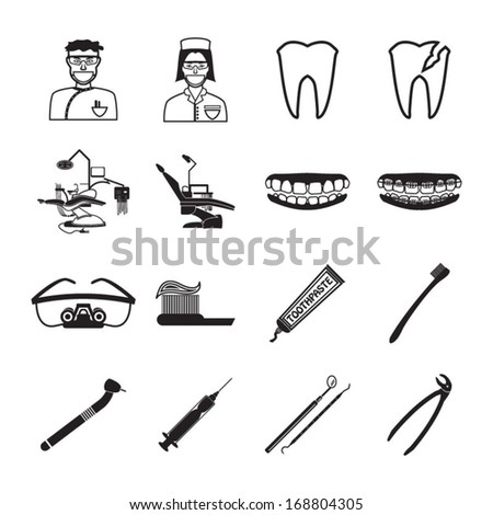 Dental icons set - stock vector