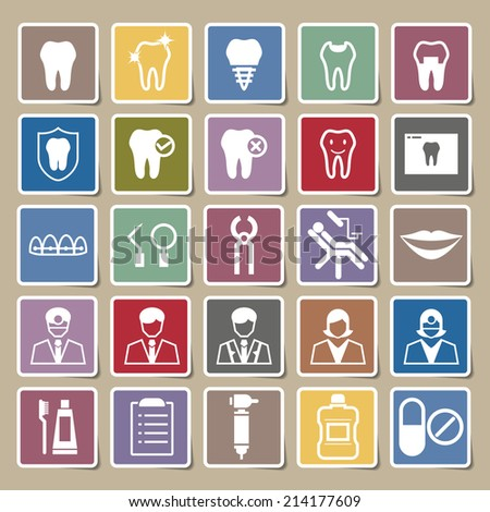 Dental icons Sticker set - stock vector