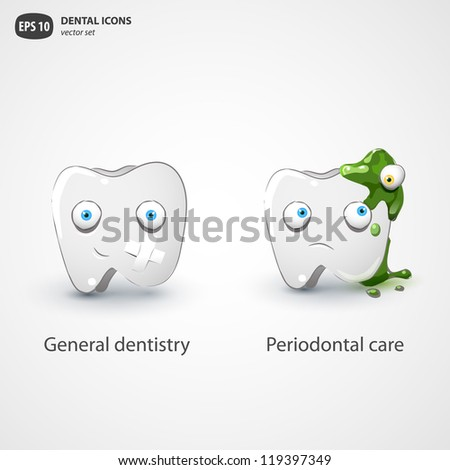 Dental icons vector set. - stock vector