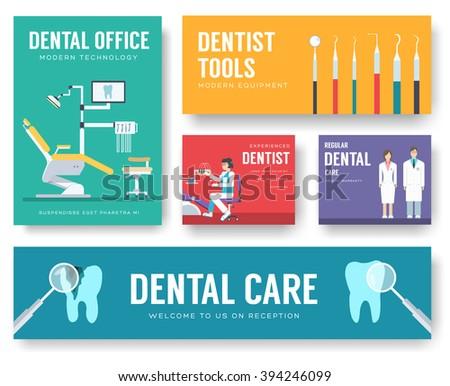 Dental Office Interior Information Cards Set Stock