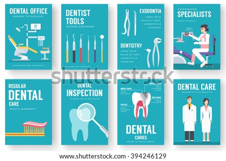 Dental office interior information cards set. Hygiene template of flyear, magazines, posters, book cover, banners. Clinic infographic concept background. Layout dentistry illustrations modern pages - stock vector
