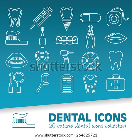 dental outline icons - stock vector