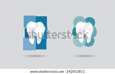 Dental practice, dentistry network or dental services logo set - stock vector