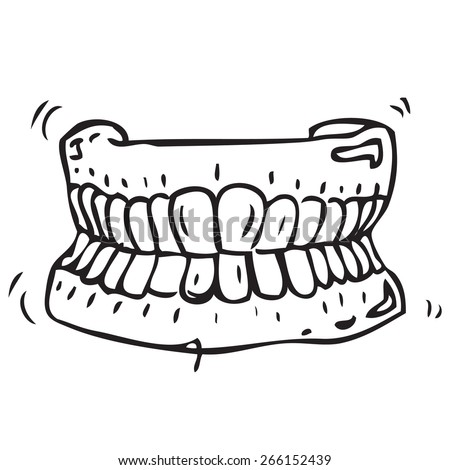 Dental Prosthesis Doodle - stock vector