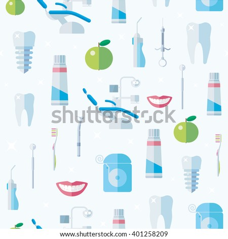 Dental Seamless background of icons in flat style. Tooth, dental floss, dental drill, a syringe, dentures, smile, apple, dental rinse, mirror, dentist's chair, toothpaste, toothbrush. eps8 - stock vector