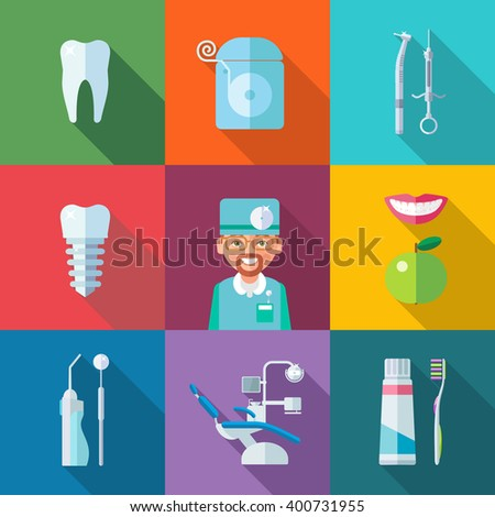 Dental set of flat icons. Tooth, dental floss, dental drill, a syringe, dentures, dentist, smile, apple, dental rinse, mirror, dentist's chair, toothpaste, toothbrush. eps8