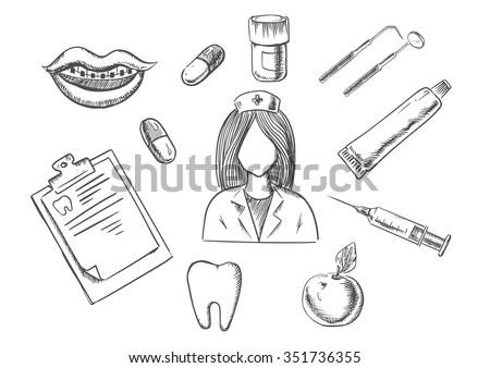 Dental sketch icons with a nurse surrounded by apple, notebook, tablets, mouth with braces, tooth, instruments and toothpaste. Medical, dentistry and healthcare concept - stock vector