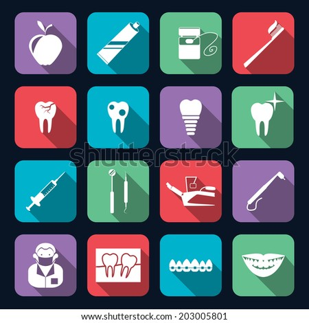Dental teeth healthcare instruments dent protection flat icons set isolated vector illustration - stock vector