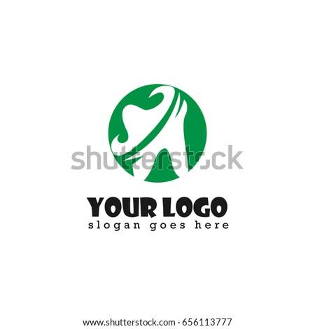 dental tooth design logo green color stock vector 656113777