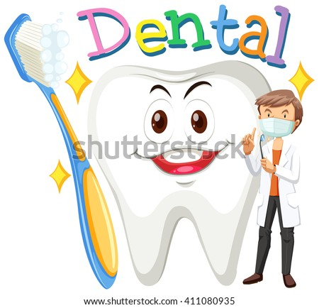 Dentist and clean tooth illustration - stock vector