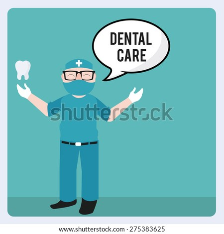 Dentist and tools illustration over blue color background