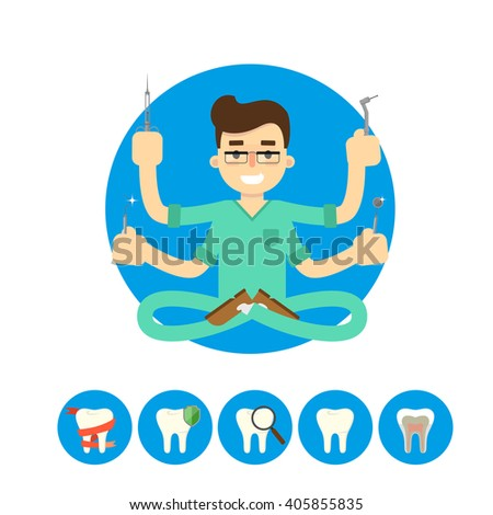 Dentist equipment isolated on white background, vector illustration. Dentist tools. Tooth icon collection. Dental object. Dental clinic. Dentist in the lotus position. Dentist Shiva. - stock vector