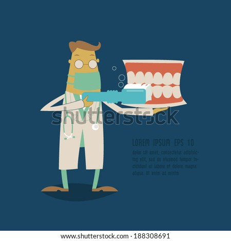 Dentist holding a teeth model and toothbrush - stock vector