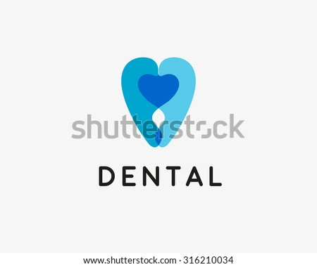 Dentist Logo Design Template Tooth Creative Symbol Dental Clinic Vector Sign Heart Mark Icon