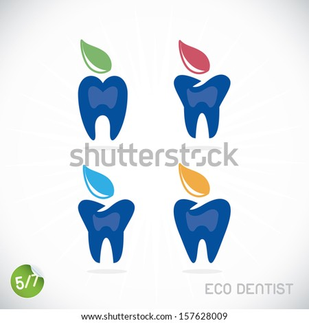 Dentist Symbols, Sign, Illustration, Button, Badge, Logo for Family, Baby, Children, Teenager, People - stock vector