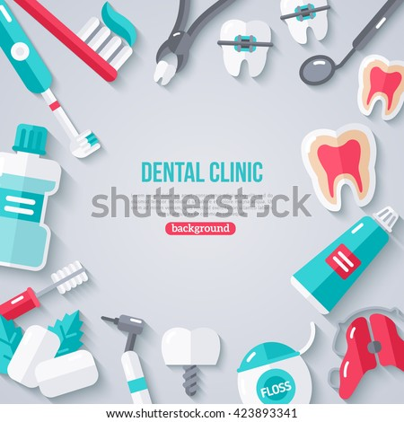 Dentistry Banner With Flat Icons. Vector illustration. Dental Concept Frame. Healthy Clean Teeth. Dentist Tools and Equipment. - stock vector