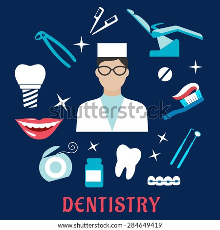 Dentistry flat concept with dentist in glasses and white uniform, dental equipments and hygiene icons including toothy smile, chair, implant, instruments, floss, braces, pills, toothbrush, toothpaste - stock vector