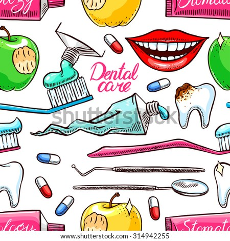Dentistry. seamless background of dental tools. hand-drawn illustration - stock vector