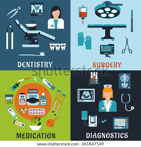 Dentistry, surgery, diagnostic medicine and pharmacology flat icons. Dentist and therapist, doctor, medical equipment, diagnostic, drugs and pills, tools, medicine bottles and medication items - stock vector