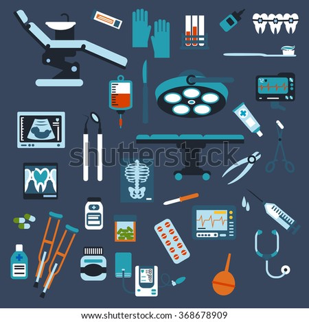 Dentistry, surgery, medical checkup medication icons with pills, syringe, dentist chair and surgical table instruments, x-ray, blood tubes and bag ecg blood pressure cuff,  stethoscope, crutches - stock vector