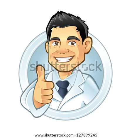 dentists smiling thumbs-up - stock vector