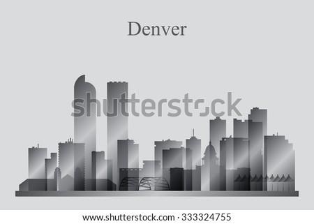 Denver city skyline silhouette in grayscale, vector illustration - stock vector