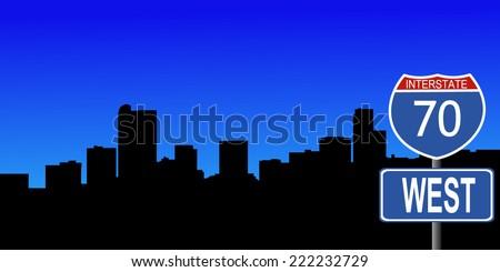 Denver skyline with interstate 70 sign vector illustration - stock vector