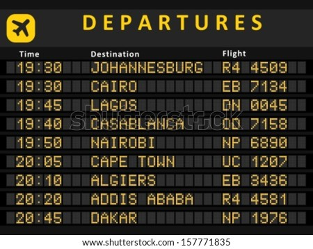 Departure board - destination airports. Busiest airports in Africa: Johannesburg, Cairo, Lagos, Cape Town, Nairobi, Casablanca, Algiers, Addis Ababa and Rabat. - stock vector