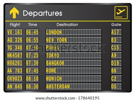 Departure board - destination airports. Vector illustration - stock vector