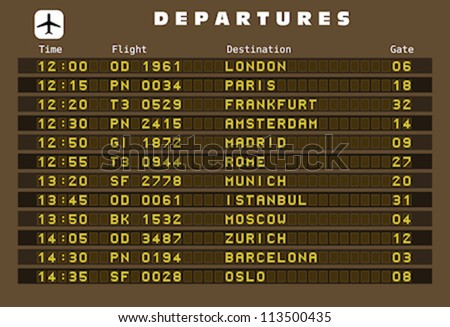 Departure board - destination airports. Vector illustration. Europe destinations: London, Paris, Frankfurt, Amsterdam, Madrid, Rome, Munich, Istanbul, Moscow, Zurich, Barcelona and Oslo.