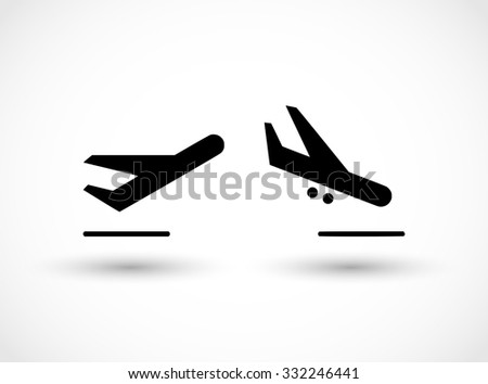 Departures and arrivals icon set vector - stock vector