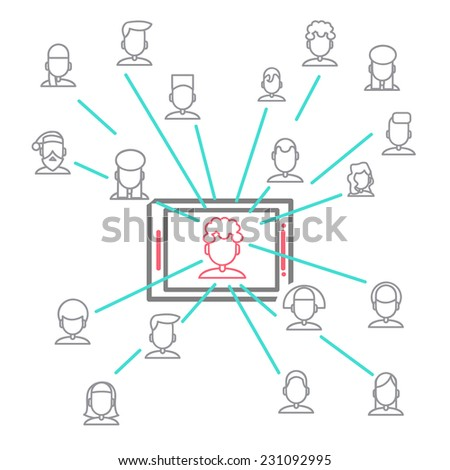 depicting individuals and social networks. modern image of human communication in the internet.  abstract image of social networking . vector illustration eps 10 - stock vector