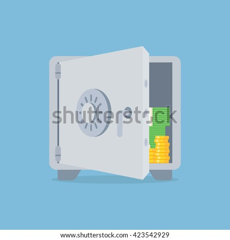 Deposit vector illustration in flat style. Saving money concept. Bank deposit icon isolated from the background. Open deposit box with money. Finance security. Deposit account image.  - stock vector