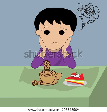 Depressed man with coffee and cake - stock vector