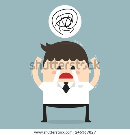 Depressed tired businessman. Sad and stressed out hard worker, flat design, vector - stock vector