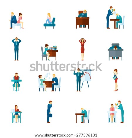Depression and frustration at work and home flat icons set isolated vector illustration - stock vector