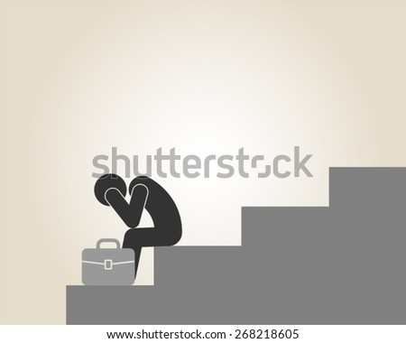 depression bankruptcy unemployed sadness hopeless businessman vector illustration - stock vector