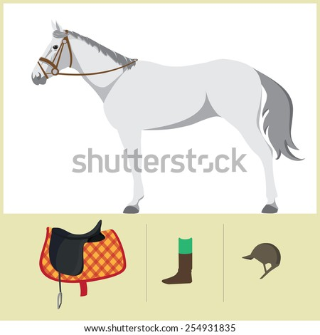 Derby. Equestrian sport. Vector Illustration of horse. Thoroughbred horse. The Sport of Kings. Horse with Saddle - stock vector
