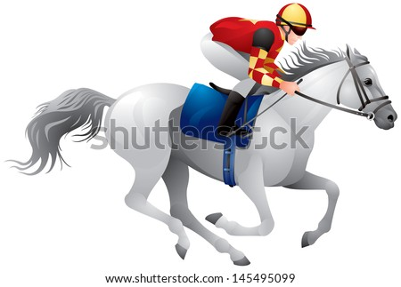 Derby white horse, Equestrian sport horse and rider in vector variant 5, Thoroughbred horse, gambling, The Sport of Kings - stock vector
