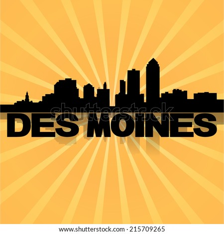 Des Moines skyline reflected with sunburst vector illustration  - stock vector